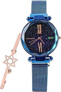 ساعة للسيدات بسوار وساعة كوارتز فاخرة بتصميم سماء مليئة بالنجوم