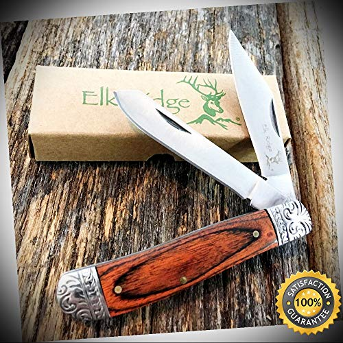 WOOD GENTLEMAN'S 2 Blade Folding Pocket Knife Fancy Bolsters ER-220DB - Outdoor For Camping Hunting Cosplay