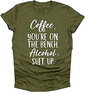 Women Shirts Coffee Letter Print Top Short Sleeve Pullover Blouse Casual Loose Summer Tee T-Shirt Tops