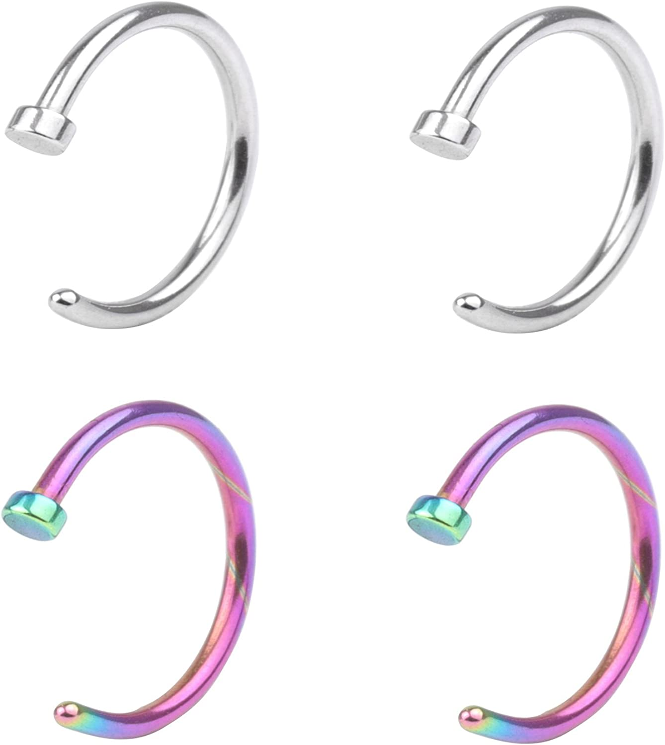 Surgical Stainless Unisex 18G Nose Rings Hoop Nose Piercing Body Jewelry 10mm 4-5pcs