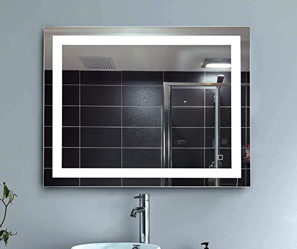 LEVE 36 X28 LED Backlit Mirror Bathroom Wall Mounted Illuminated Mirror Dimmable And Anti Fog Led Border