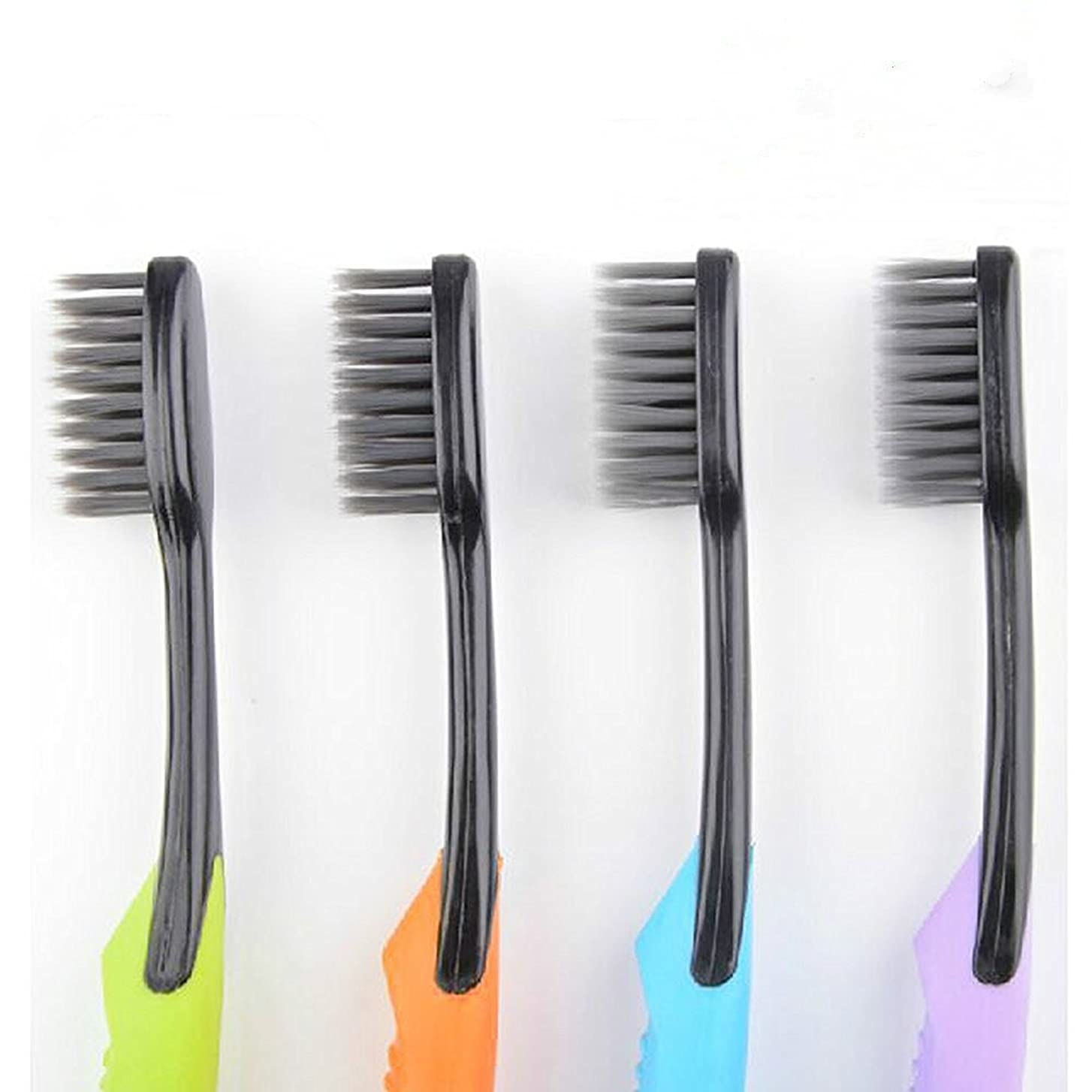 大胆なフェンス大きいCand Ultra Soft Adult Toothbrush, Bamboo Charcoal Bristle, Pack of 4 by Cand