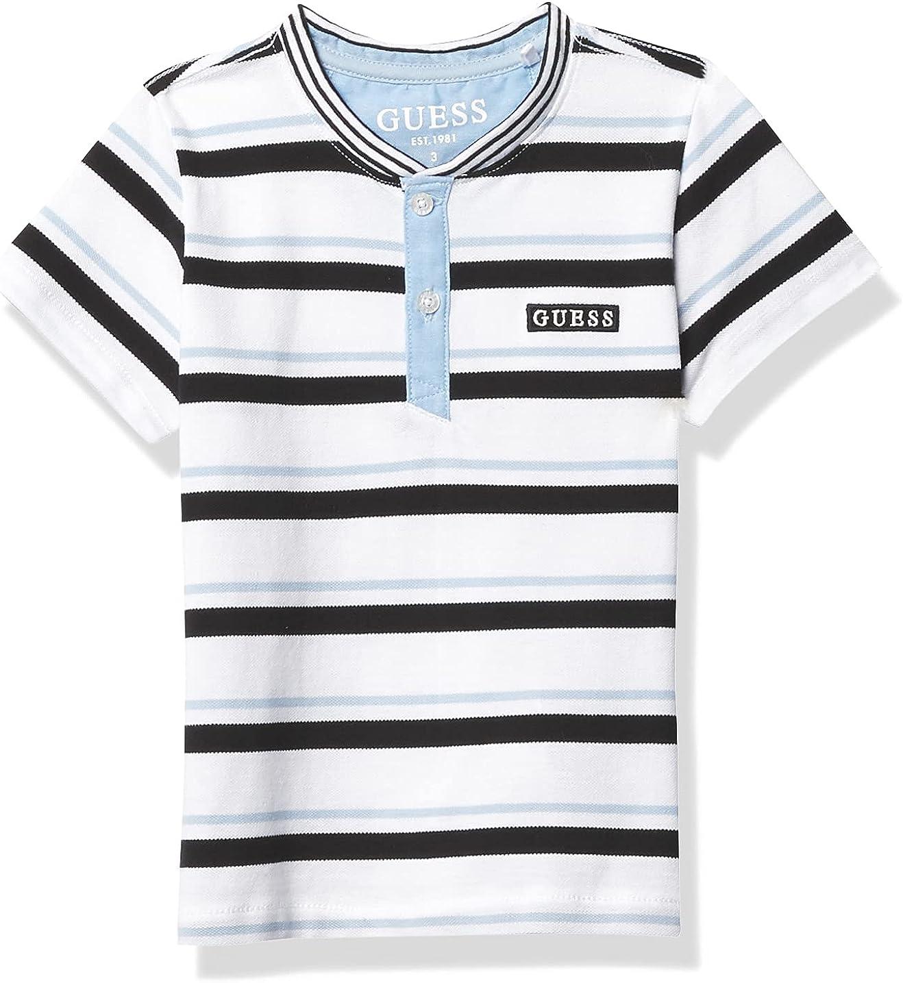 GUESS Boys' Short Sleeve Stripe Henley