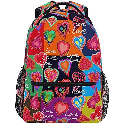 College Bag Leuke Harten Hippie Liefde Schoudertas Universele College Tas Schooltas Student College Jongens Unieke Meisje Gedrukt