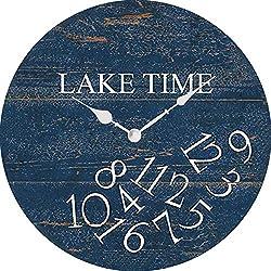XinsFaith Whatever Lake Time-Creative/Modern Clock-Frameless Wall Clock-Decorative Wall Clock-9.5 Inch Battery Operated Quartz Clocks Non Ticking