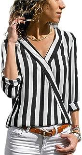 MU2M Women's Stylish Stripe Long Sleeve V Neck Wrap Shirt Blouse Tops