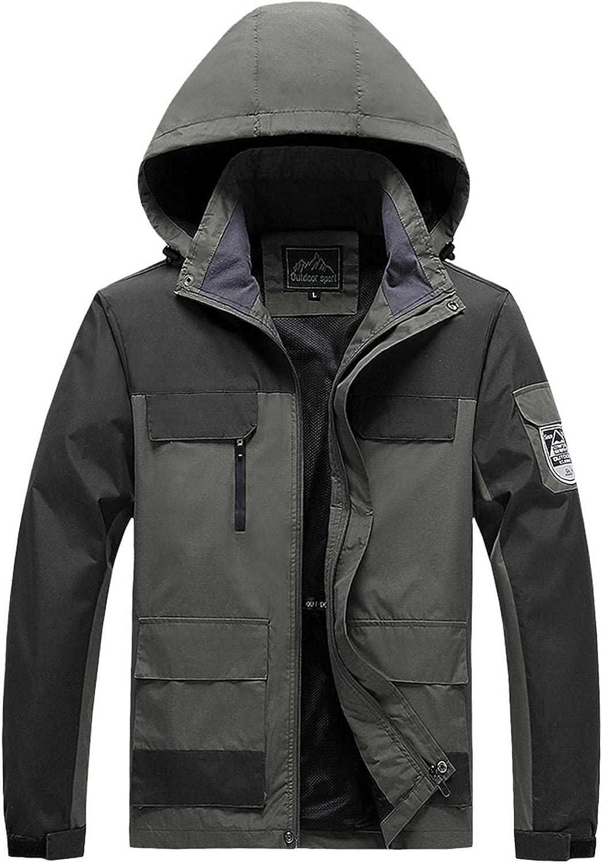 SUIQU Mens Bomber Jackets Casual Long Sleeve Zip Windproof Hooded Jackets Slim Cargo Military Jackets Waterproof Coat