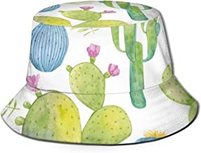 LHleiping Printed Bucket Hat, Fisherman Sun Hats for Men Women Girls Boys Watercolor Cactus