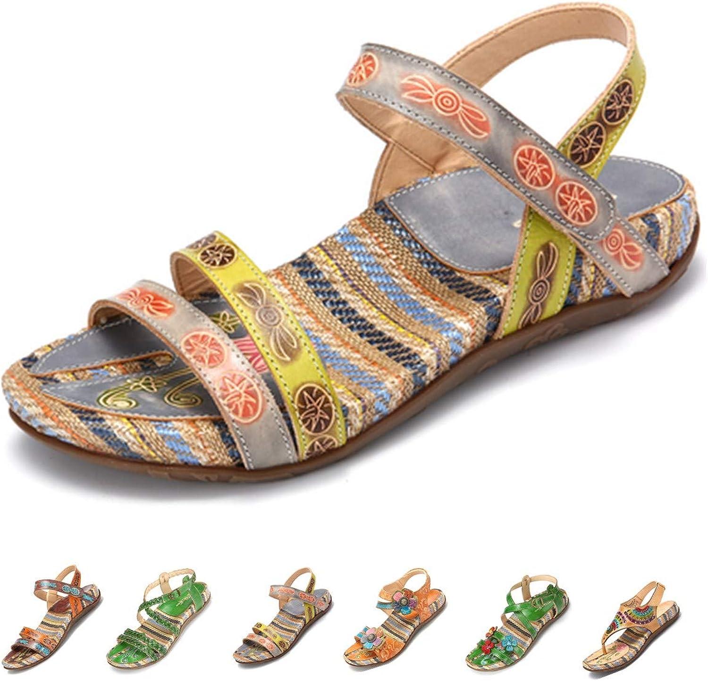 Gracosy Women's Flat Sandals, Summer Beach Sandal Vintage Handmade Flower Peep Toe Straps Sandals Slingback Slipper