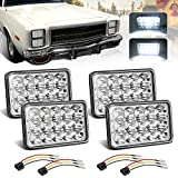 (4pcs) Dot approved 4x6 inch LED Headlights Rectangular Replacement H4651 H4652 H4656 H4666 H6545 for Peterbil Kenworth Freightinger Ford Probe Chevrolet Oldsmobile Cutlass