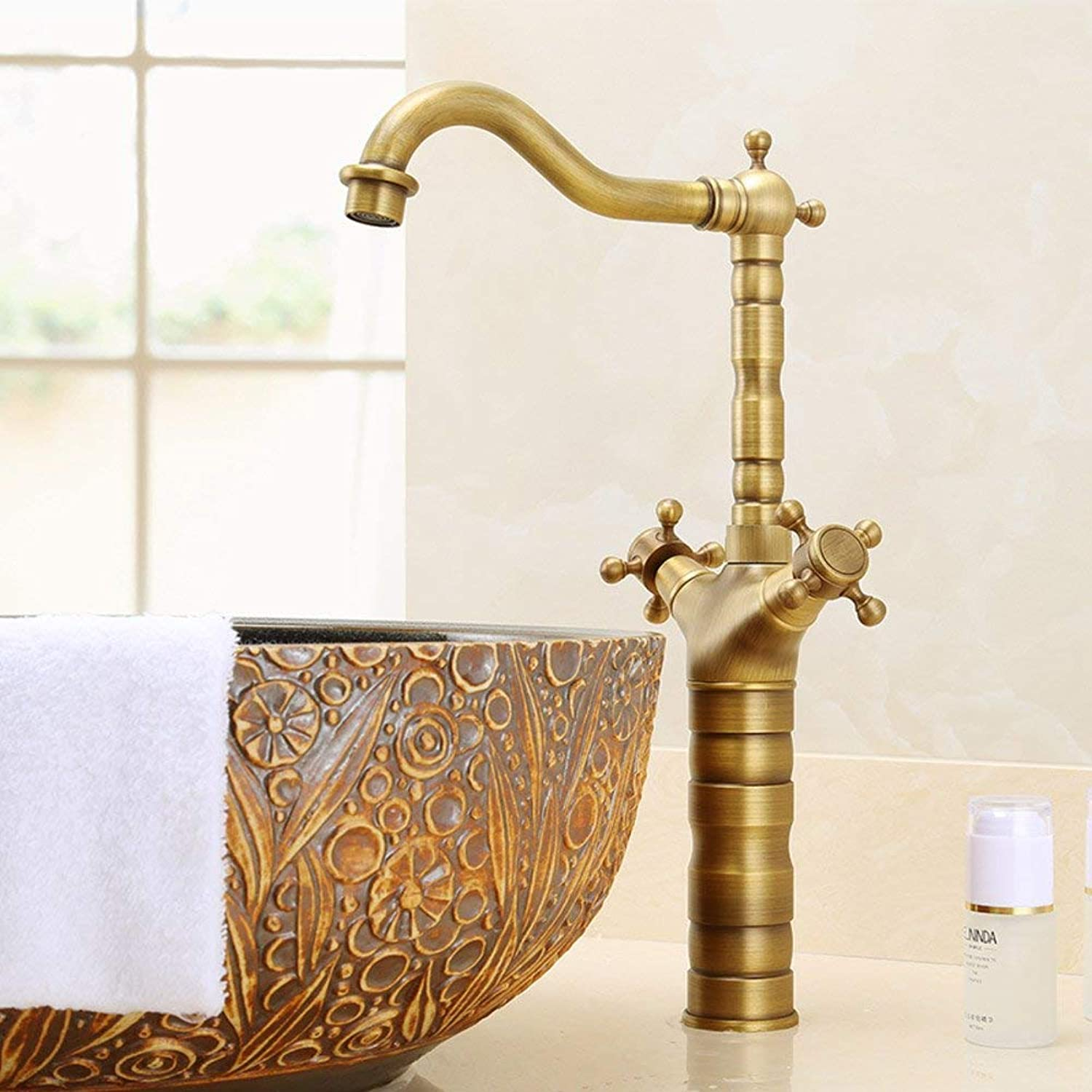 FuweiEncore Bathroom sink taps Antique redating faucet hot and cold european-style copper vintage basin faucet single hole bronze washbasin faucet-B