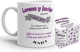 Kembilove Taza de Café Pareja – Taza de Desayuno Miles de Sueños por Cumplir Juntos Morado con Nombres Personalizados – Taza de Café y Té para Enamorados – Tazas Parejas de 350 ml San Valentín