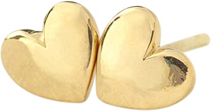Lifetime Jewelry Heart Stud Earrings - Safe for Most Sensitive Ears - Hypoallergenic - up to 20X More 24k Gold Plating Than Other Studs - Free Lifetime Replacement Guarantee - Made in USA