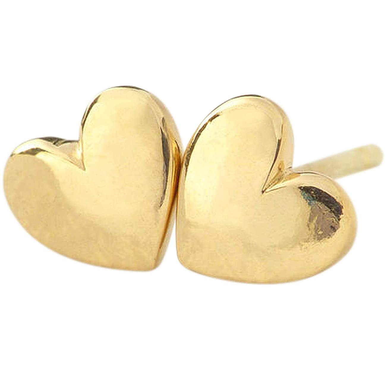 Lifetime Jewelry Heart Stud Earrings 24k Gold Premium Overlay Fashion Jewelry - Safe for Most Sensitive Ears with Lifetime Replacement Guarantee