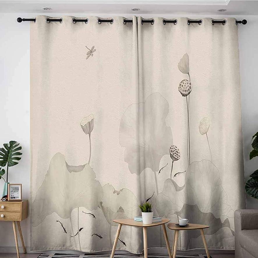 LOVEEO Grommet Curtains,China,Grommet Curtains for Bedroom,W108x72L Vintage Ink Vintage Hand Drawn