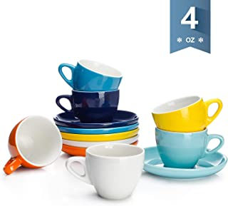 Sweese 402.002 Espresso Cups with Saucers, 4 Ounce Demitasse Cups, Perfect for Single or Double Espresso, Cappuccino, Latte and Tea - Set of 6, Hot Assorted Colors
