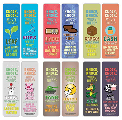 Creanoso Funny Knock-Knock Jokes Puns Bookmarks (30-Pack) – Unique Stocking Stuffers Gifts for Boys & Girls, Unisex Adults – Cool Book Page Clippers Collection Set for Knock-Knock – Awesome Giveaways