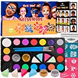 Miserwe Face Paint Kit-18 Colors,40 Stencils,1 Silver Sticker,2 Glitter Powder,4 Brushes, 4 Sponge Kit Professional Safe Non-Toxic Washable Body & Face Paint for Kids Adult