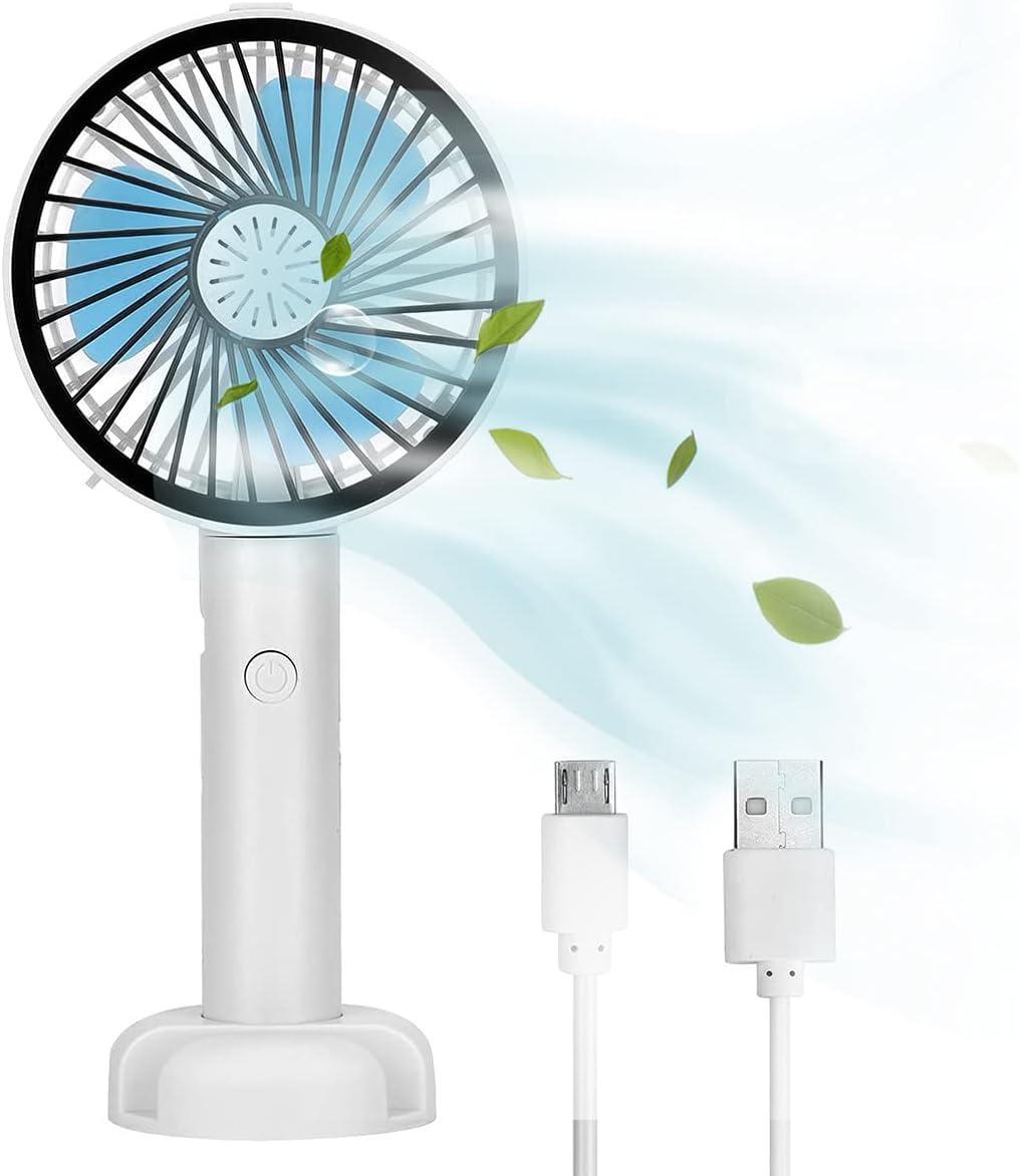 Queta Ventilador de Viaje, Portátil Ventilador de Mano, Mini Ventilador de Mano USB con 2 Velocidades Ajustables, Multifuncional Ecargable Ventilador, Con función de apoyo/Caja de aromaterapia