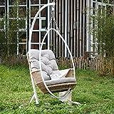 Silla colgante de mimbre de lujo, silla de jardín y huevo, suave y esponjoso, cojín relajante, cesta grande, porche, salón (color: tipo A)