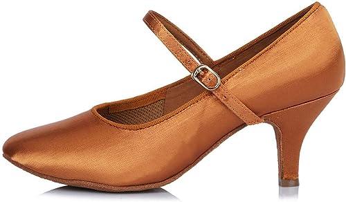 YFF Toe fermé professionnel Chaussures de Danse Moderne de bal en cuir Chaussures de Danse Tango Salsa Party danse latine Chaussures femmes filles ,63mm 30602,8.5