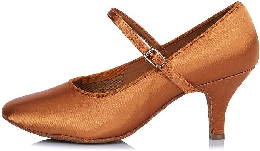 YFF Toe fermé professionnel Chaussures de Danse Moderne de bal en cuir Chaussures de Danse Tango Salsa Party danse latine Chaussures femmes filles ,63mm 30602,5.5