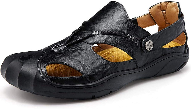 GHFJDO Men Closed-Toe sandals,Summer Leather Lightweight Hiking Trekking shoes