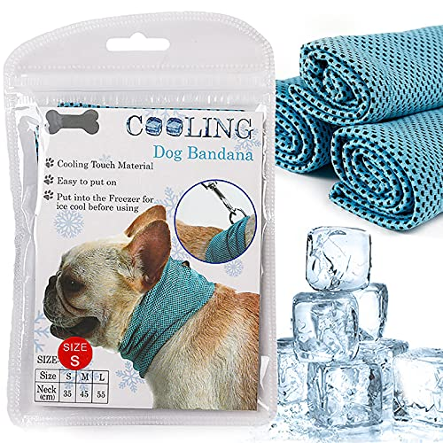 Dog Instant Cooling Bandana, Breathable Pet Scarf Cooling Collar for Dogs, Ice Towels for Bulldog, Cats Ice Collar in Summer, Cooling Towel Neck Wrap for Dogs with Leash Hole, Small