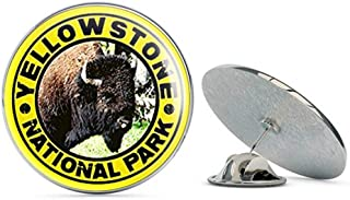 Yellow Round Yellowstone Buffalo Face National Park (Bison) Metal 0.75