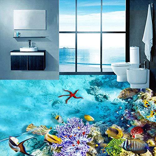 Papel pintado mural 3D simple moderno Submarino Organismo marino Azulejos de suelo 3D Baño Impermeable Papel de pared 3D Papeles de pared Sticker-350 * 275cm