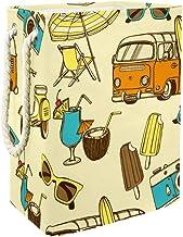 Clothes Hamper Summer Beach of Hawaii Tropical Cocktail Sun Glasses Surf BusLarge Storage Bin Storage Basket Clothes Laund...