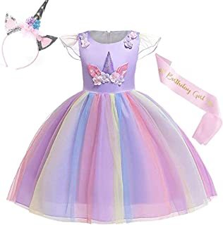 Yalla Baby Girls Unicorn Dress - Party Costume for Kids Girls 110-150cm 6-14 Years - Optional Horn Glitter Ears Flower Hea...