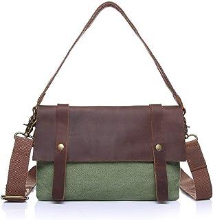 Shoulder Bag Women's Messenger Bag Vintage Canvas Bag Female Bag Shoulder Bag Slung Canvas with Crazy Horse Bag Handbag Clutch (Color : Green, Size : Small)