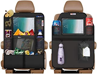 NHILES Back Seat Car Organizer Car Seat Protector 2 Type(A+B) with Touch Ipad Holder 8 Storage Bag and 17.7 x 12.4 inch Storage Bags with 1 Tissue Box 3 Storage Bag