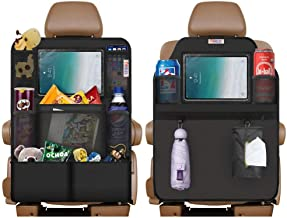 "Easy to Clean and Practical Covers HANDIPRO Multifunctional Car Backseat Organizer for Kids 2 Pack 24 x 17/"" Universally Compatible Backseat Protectors with Multiple Pockets Elegant Black Design"