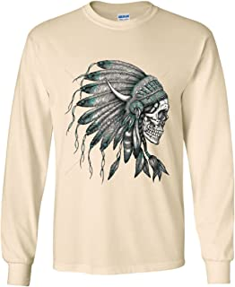 Indian Headdress Skull Long Sleeve T-Shirt Native American Tribe Natural L