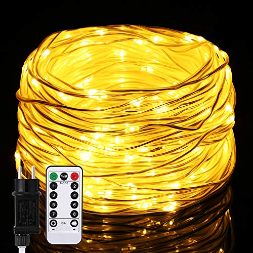 Lichterschlauch mit 250LED, Infankey 25M Led Lichtschlauch mit Fernbedienung, 8 Modi & Timer, IP65 Wasserdicht, Perfekt für Zuhause, Außen, Deko und Party