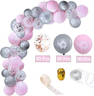 93 Pieces Pink Elephant Baby Shower Decorations / Pink Elephant Party Balloons For Girl Baby Shower and Girl Birthday Party Decorations,Balloon Ribbon, Balloon Tape Strip ,Balloons Arch to Elephant Themed Party Supplies