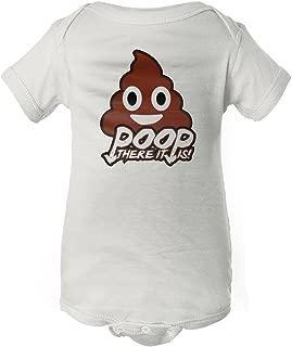 InkThread Poop There It Is - Poop Emoji - Funny Baby Onesie Pajamas with Sleeves, Newborn, White -Poop There It is