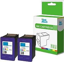 InkJello - Cartucho de tinta remanufacturado para HP Deskjet 3320 3325 3420 3450 3520 3535 3538 3550 3645 3650 3740 3744 3745 3840 3845 Fax 1240 Officejet 4200 4212 4215 28 (color, doble paquete)