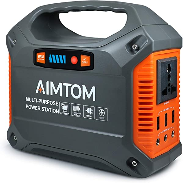 AIMTOM Portable Solar Generator 42000mAh 155Wh Power Station Emergency Backup Power Supply With Flashlights For Camping Home CPAP Travel Outdoor 110V 100W AC Outlet 3X 12V DC 3X USB Output