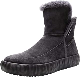 Happy-L Shoes, Elegant Combat Boots for Men Ankle Anti Slip Shoes Pull on Style Suede Upper Solid Color Round Toe Flat Warmth Fleece Inside Outdoor