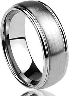 Prime Pristine Titanium Wedding Band Ring for Men & Women Brushed Center Domed Ring for Men & Woman
