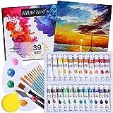 Flyhood - Pintura acrílica, 39 piezas con 24 tubos de 12 ml, 11 pinceles, paleta, lienzo, esponja y raspador, perfecto para pintar sobre papel, lienzo, madera, cerámica y tela.