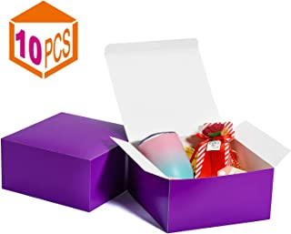 MESHA Gift Boxes 8x8x4in Gift Boxes for Bridesmaids 10Pack Purple Kraft Gift Boxes with Lids for Crafting, Cupcake Boxes(Purple)