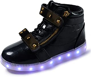 VILOCY Boys Girls USB Charging LED Light Up High Top Trainers Luminous Shoes Flashing Sneakers