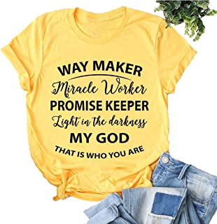 YourTops Way Maker Miracle Worker Promise Keeper Light in The Darkness My God This is Who You are T-Shirt