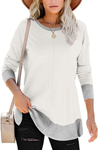 Bofell Sweatshirts for Women Long Sleeve Crewneck Side Split Pullover Tunic Tops