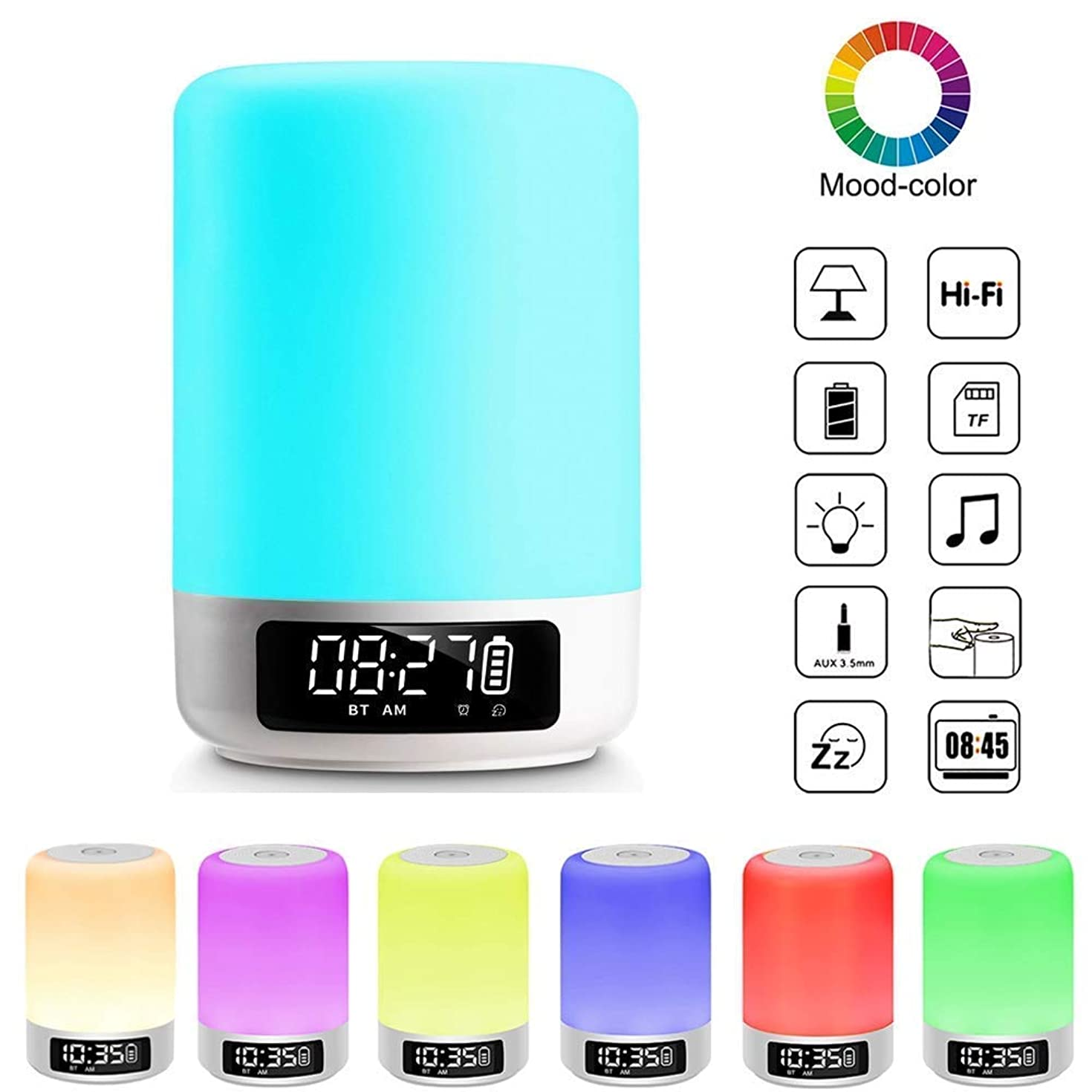 Night Light Bluetooth Speaker, Touch Sensor Bedside Table Lamp with Digital Alarm Clock, LED Color Changing Portable MP3 Player Gifts for Kids Teens Bedroom Party