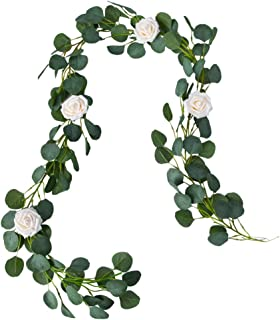 Belle Fleur Faux Eucalyptus Garland 6FT, 147Pcs Leaves with 4Pcs Rose Flowers, Garland Greenery for Wedding Backdrop Table Runner Decor